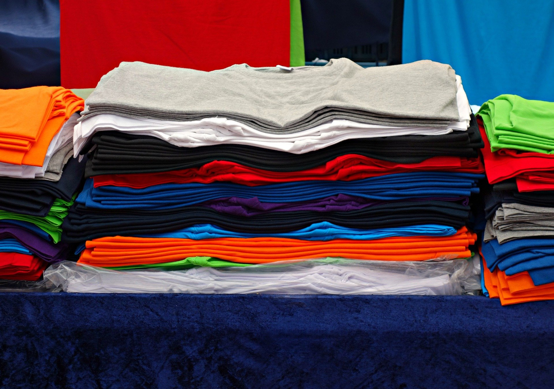 Stack of brightly colored clothing